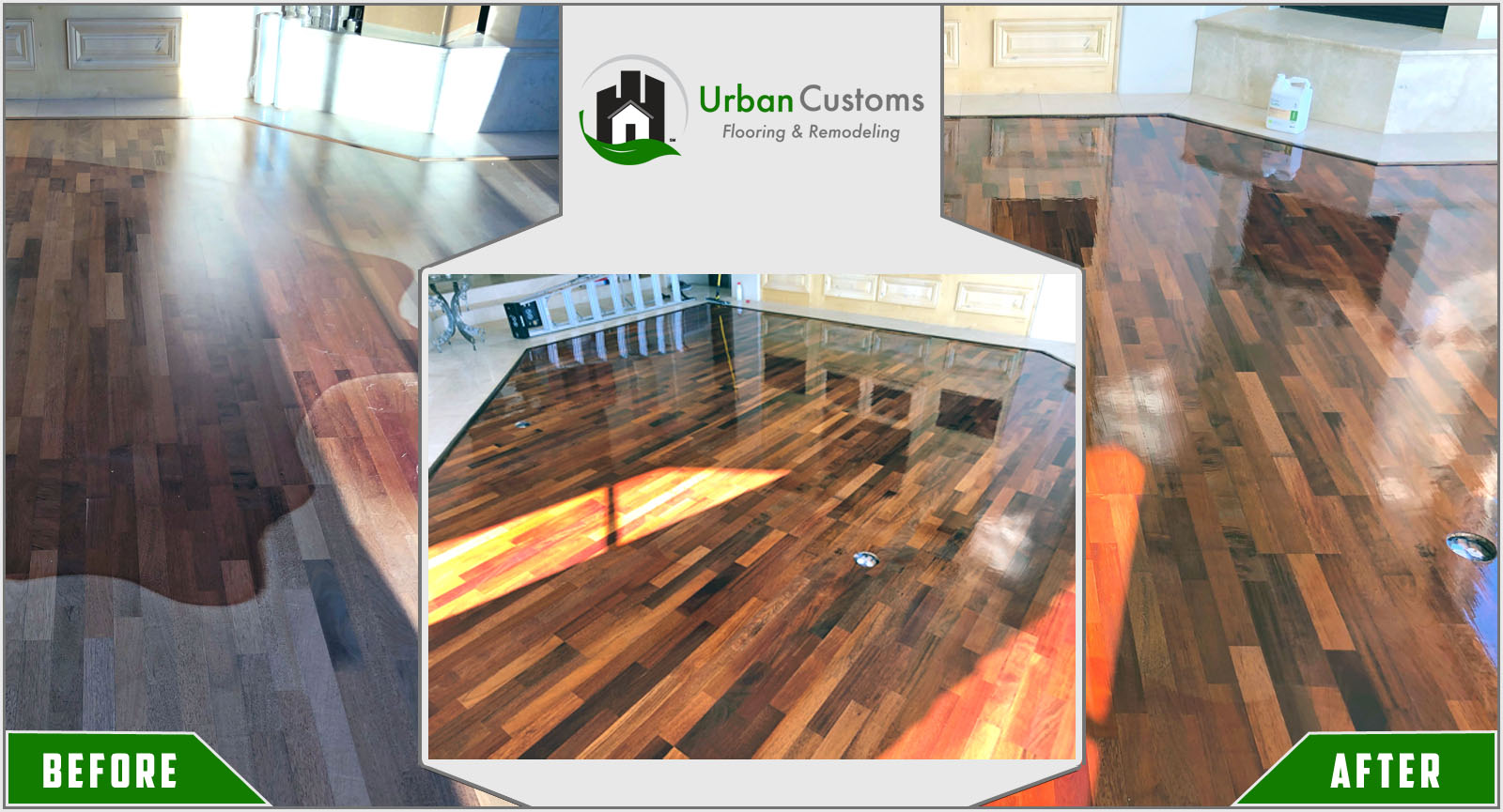 Hardwood Floor Refinishing Before and After