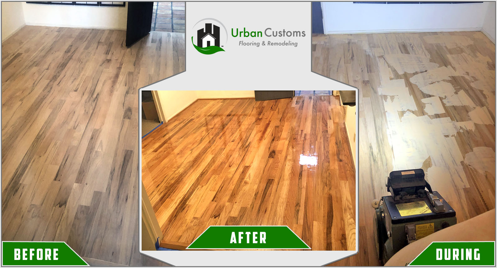 Wood Floor Refinishing Before and After